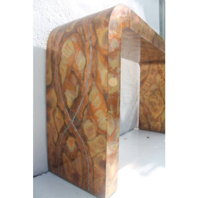 Paul Evans Style Waterfall Copper Console Table For Sale In Miami - Image 6 of 11
