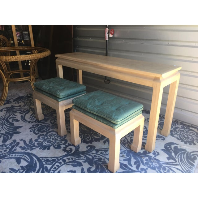 Vintage Burl Wood Console Table & Stools - Set of 3 For Sale - Image 4 of 9