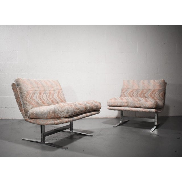 Mid-Century Modern 1970s Vintage Adrian Pearsall for Craft Associates Chrome Base Lounge Chairs- a Pair For Sale - Image 3 of 5