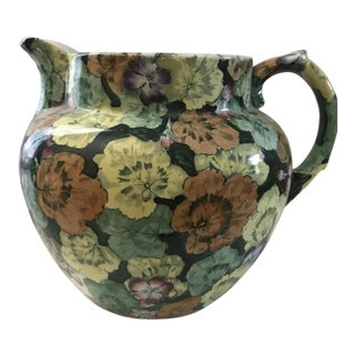 20th Century Traditional Buffalo Pottery Muli-Colored Chintz Pitcher