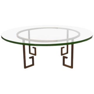 French Modern Gilt Iron and Glass Low Table, Style of Jean Royère For Sale