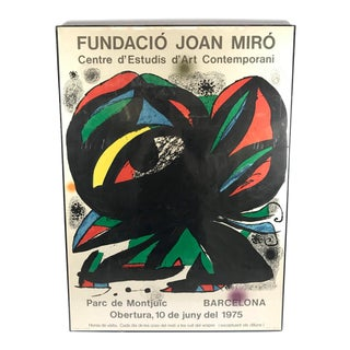 Original 1970's Lithograph Poster Joan Miro From Barcelona For Sale