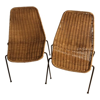 1960s Vintage Campo Graffi Wicker Armless Chairs - A Pair
