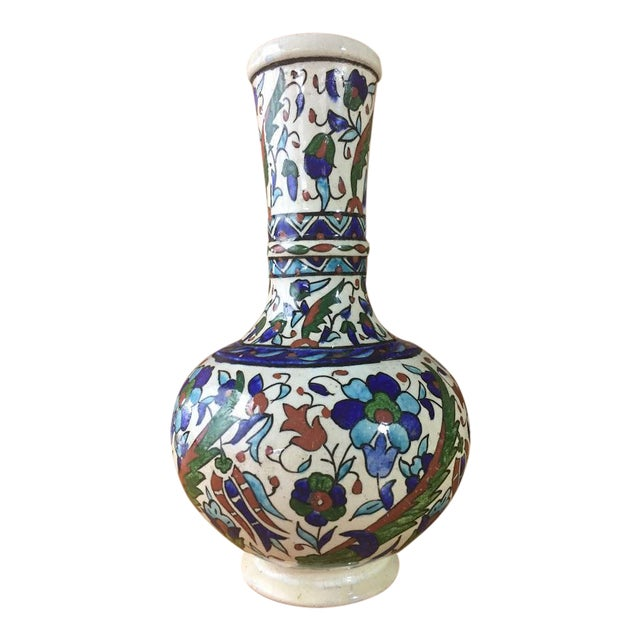 Middle Eastern Hand-Painted Glazed Pottery For Sale