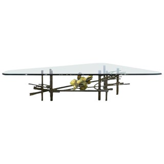Brutalist Silas Seandel Lotus Coffee Table With Triangular Glass Top For Sale