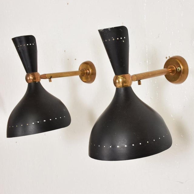 Art Nouveau Mid-Century Modern Italian Black Wall Sconces After Sarfati - a Pair For Sale - Image 3 of 8
