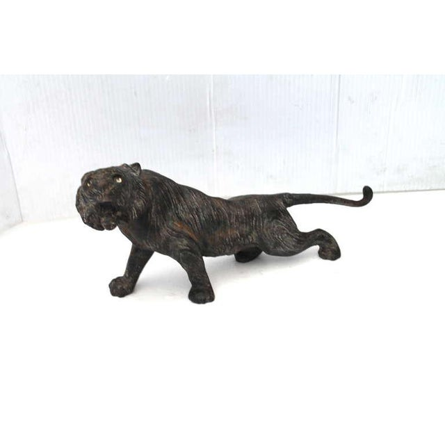 Rustic Rare 19th Century Iron Tiger Door Stop With Glass Eyes For Image 3