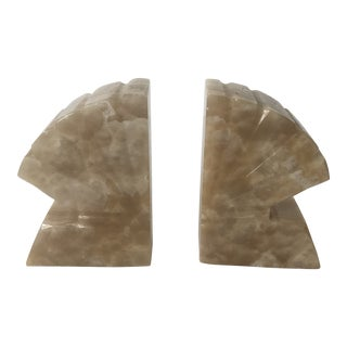 1960s Carved Shell Onyx Bookends - a Pair For Sale
