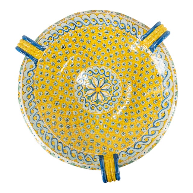 Late 20th Century Italian Yellow Majolica Renaissance Revival Decorative Wall Charger For Sale