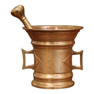 Mid-19th Century French Carved Patinated Bronze Mortar With Pestle For Sale
