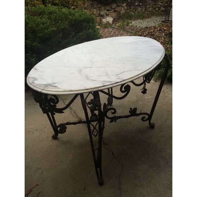 Solid Marble Top Beveled Wrought Iron Table - Image 3 of 10