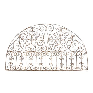 19th Century French Demilune Iron Transom Grille