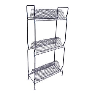 1960s Tier Black Wire Record Rack For Sale