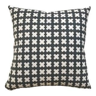 Greige Textiles Felix in Azure Custom Pillow For Sale