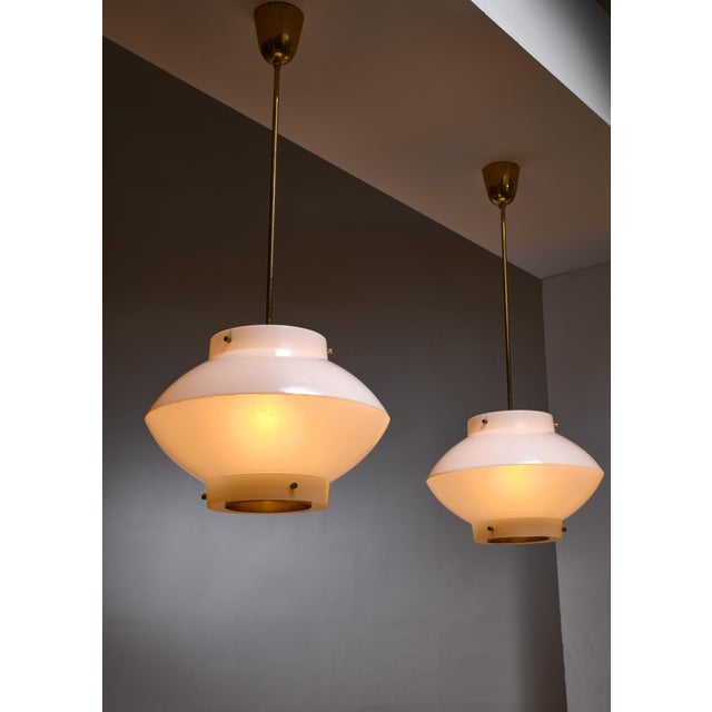 1960s Pair of Yki Nummi White Plexiglass and Brass Pendants for Orno For Sale - Image 5 of 5
