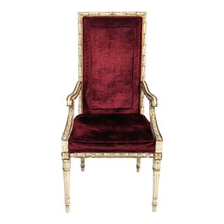 1960s Vintage French Provincial Style High Back Accent Chair For Sale