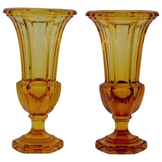 Hand Blown Amber Crystal Vases For Sale