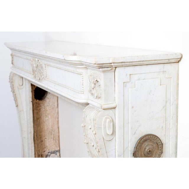 19th Century Louis XVI Style Carrara Marble Fireplace Surround / Mantel For Sale - Image 9 of 13