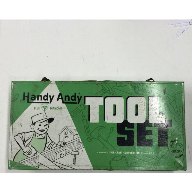 Vintage Handy Andy Green Tool Set Box - Image 2 of 8