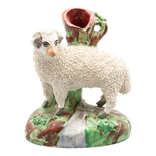 Antique English Staffordshire Ram Spill Vase For Sale