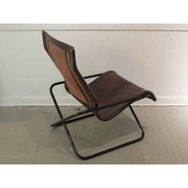 Brown Vintage MCM Uchida Leather Sling Chair For Sale - Image 8 of 11