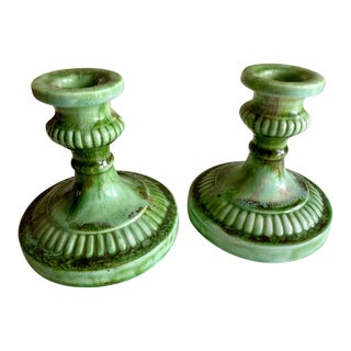 Vintage Ceramic Pottery Candleholders, a Pair For Sale