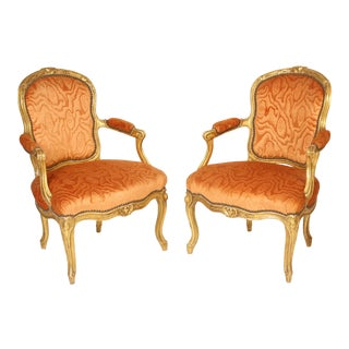 Antique Louis XV Style Gilt Wood Armchairs - a Pair
