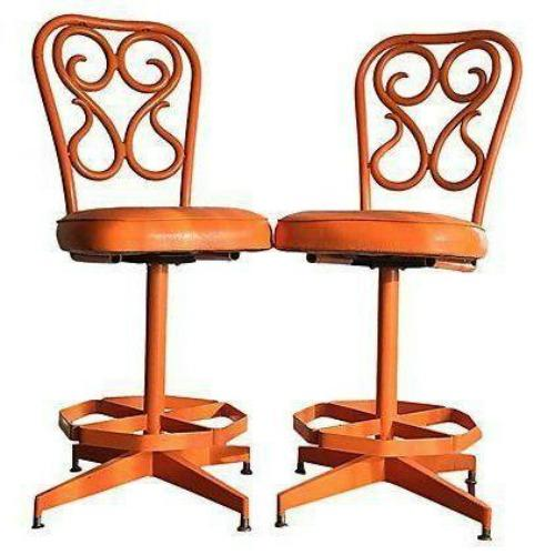 Retro 1970's Orange Swivel Stools - A Pair - Image 1 of 3