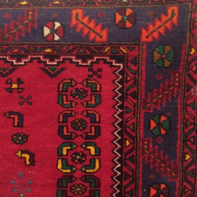 Vintage Blue and Red Persian Rug - 3′12″ × 6′2″ - Image 3 of 5