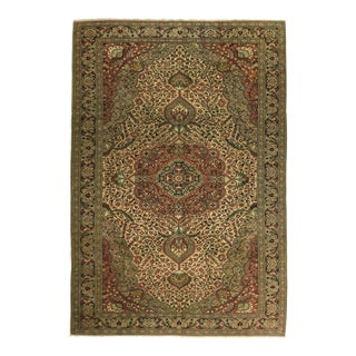 Hand-Knotted Vintage Kayseri Carpet in Taupe, Celedan and Watermelon