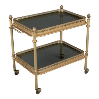 Mid Century Brass and Smoke Glass Bar Cart For Sale
