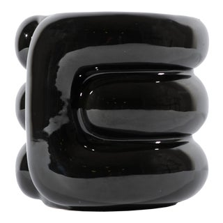 Bagni for Raymor Italian Postmodern Ceramic Black Vase For Sale