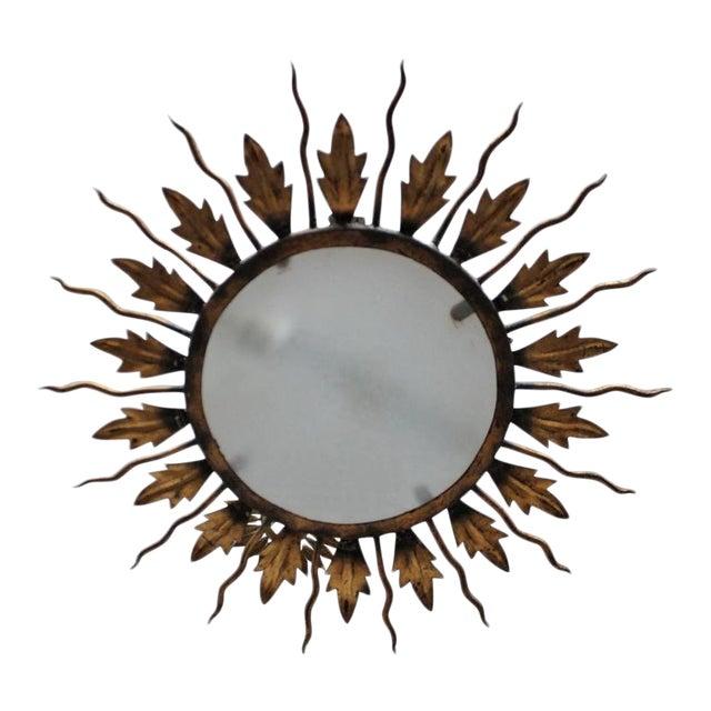 Spanish Gilt Metal Sunburst Flush Mount Ceiling Fixture - Image 1 of 8