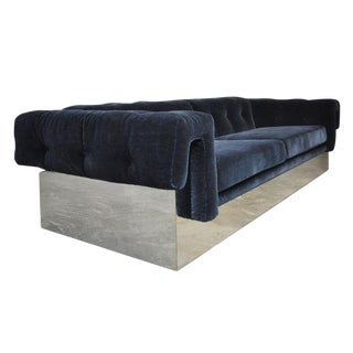 Milo Baughman Chrome Case Sofa in Blue Mohair For Sale