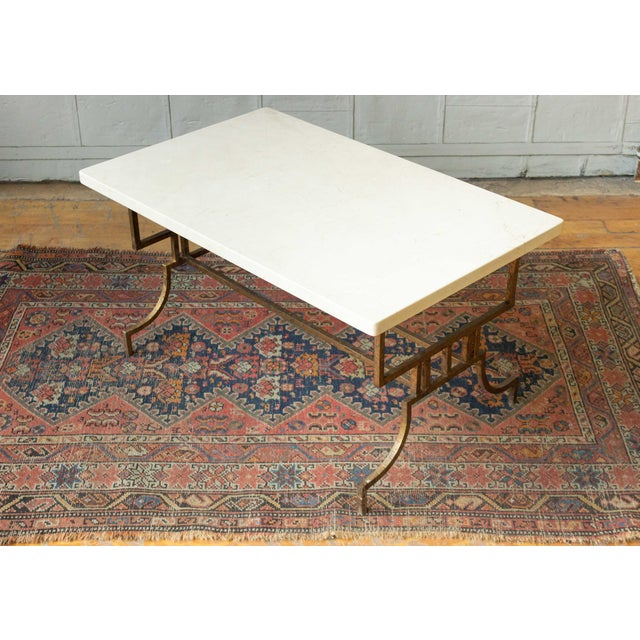 Brown French 1940s Gilt Iron Coffee Table With Marble Top For Sale - Image 8 of 9