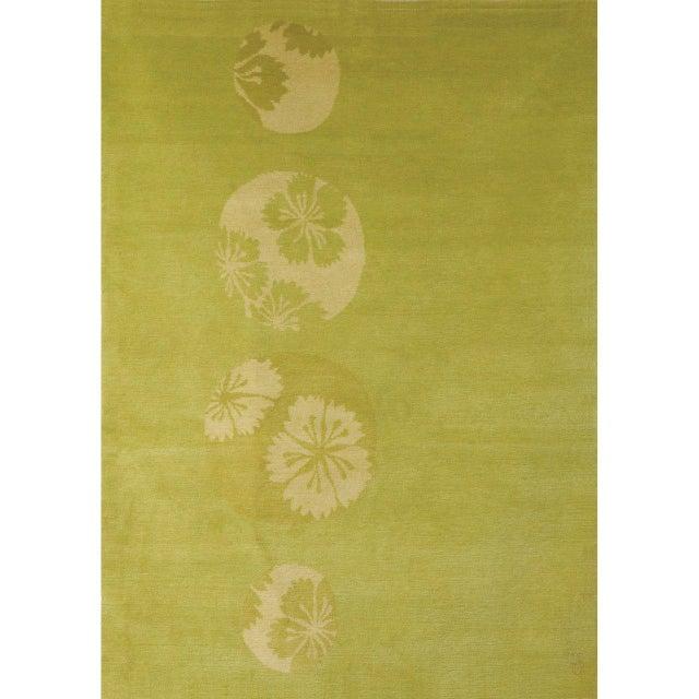 "Asian ""Glimpse Flower"" Rug by Emma Gardner For Sale - Image 3 of 3"