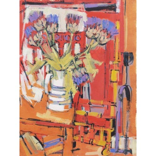 'Still Life With Thistles' by Sonia Mitrovich, 1961; Chilean American Post-Impressionist Woman Artist For Sale