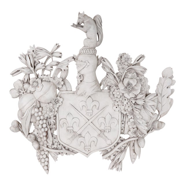 White Wood Carved Family Crest For Sale