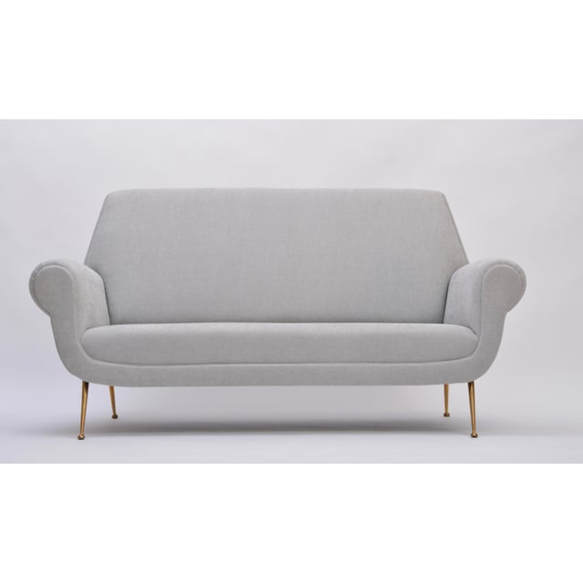 Reupholstered Grey Midcentury Sofa by Gigi Radice for Minotti For Sale - Image 9 of 9