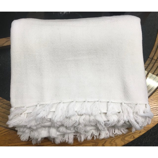 White Cashmere Blanket With Tassels - Image 2 of 11