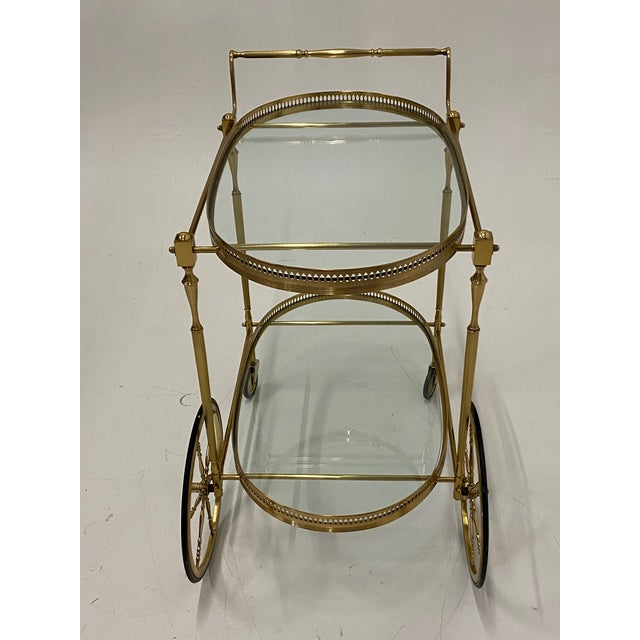 Mid-Century Modern Oval Brass & Glass Bar Cart For Sale - Image 10 of 12