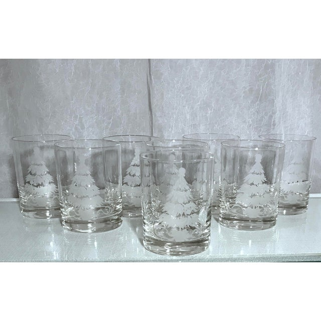 Late 20th Century Vintage Decorated Holiday Tree Glasses Frosted and Etched - Set of 8 For Sale - Image 5 of 5