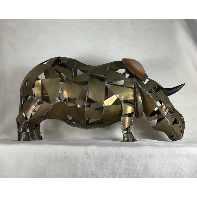 Vintage Mid-Century Brutalist Brass Copper Rhino Freestanding Sculpture For Sale - Image 4 of 11
