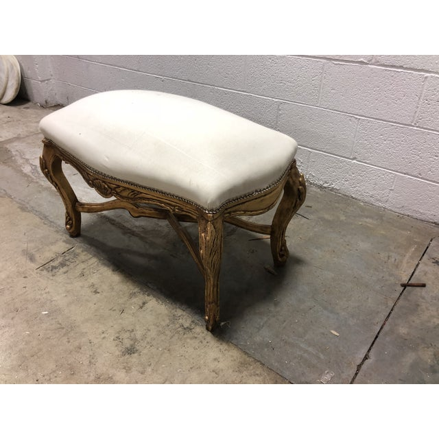 Vintage Louis XV Upholstered Giltwood Curved Top Bench With Pedestal For Sale - Image 4 of 6