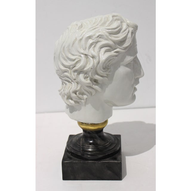 Mid-Century Modern Mid-Century Modern Roman Head of Male in White Porcelain on Faux Malachite Stand For Sale - Image 3 of 11