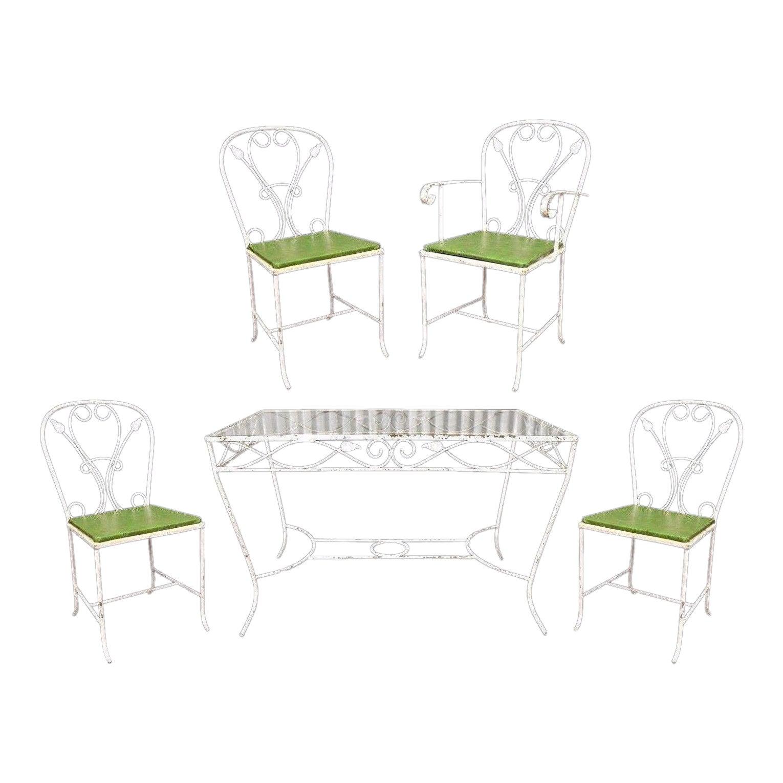 Vintage Salterini Wrought Iron Patio Dining Set Table 4 Chairs Art