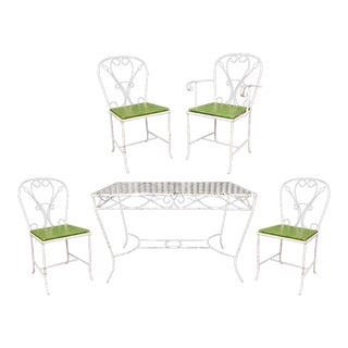 Vintage Salterini Wrought Iron Patio Dining Set Table 4 Chairs Art Nouvea White For Sale