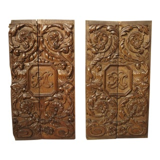 Pair of 17th Century Renaissance Style Carved Panels From France For Sale