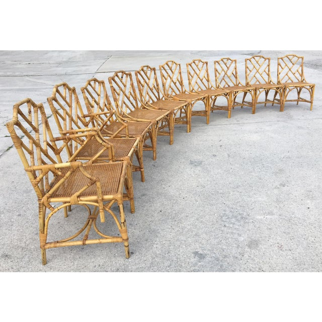Bamboo Chinese Chippendale Cane Seat Dining Chairs - Set of 10 - Image 13 of 13