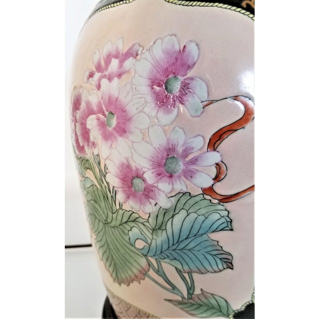 Large Famille Rose Noire Porcelain Chinese Table Lamp Flowers and Leaves For Sale In Miami - Image 6 of 13